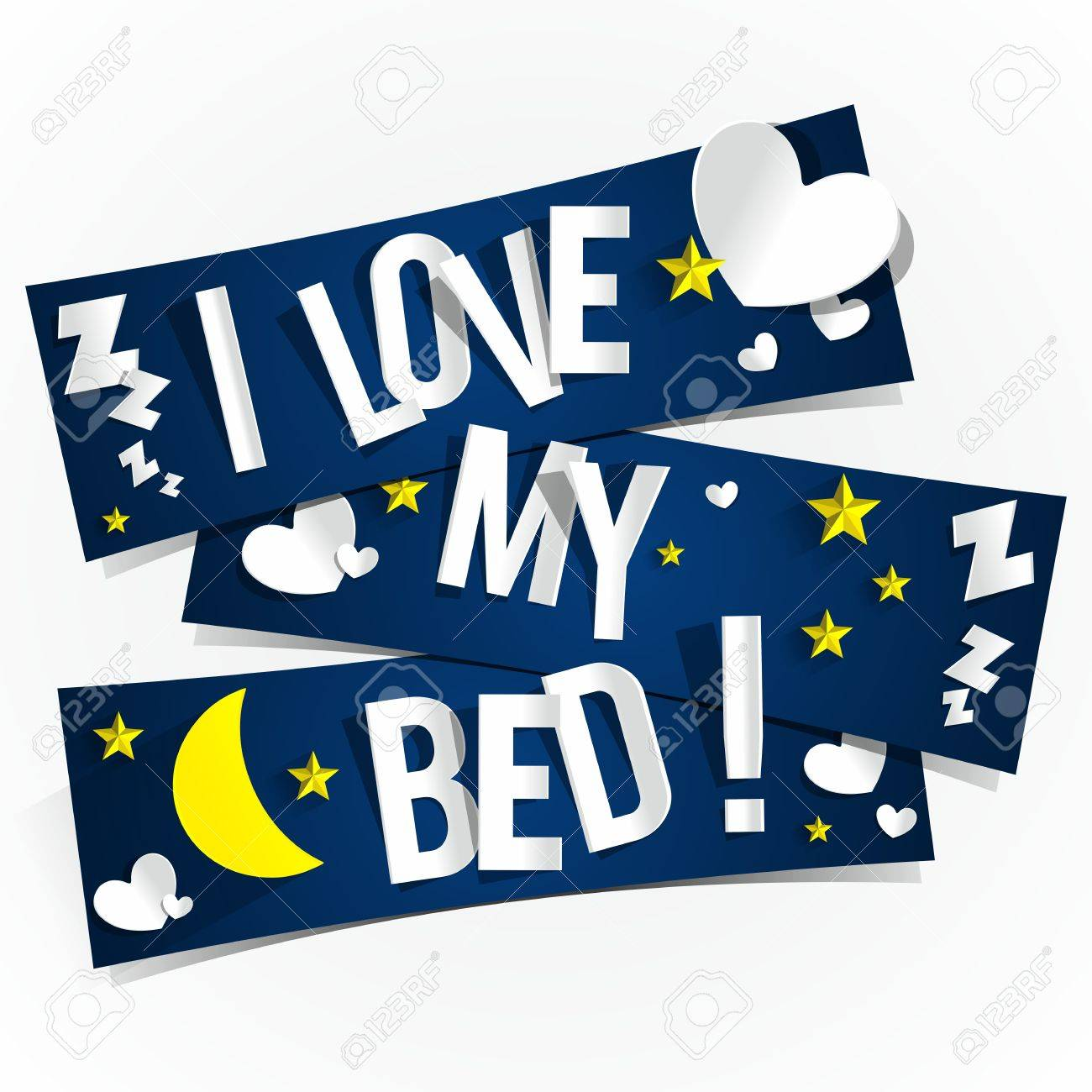I Love My Bed i love my bed banners vector illustration royalty free cliparts