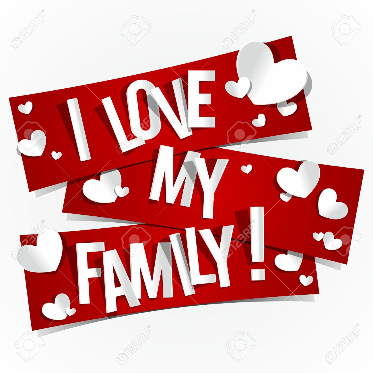 I Love My Family Banners Vector Illustration Royalty Free Cliparts