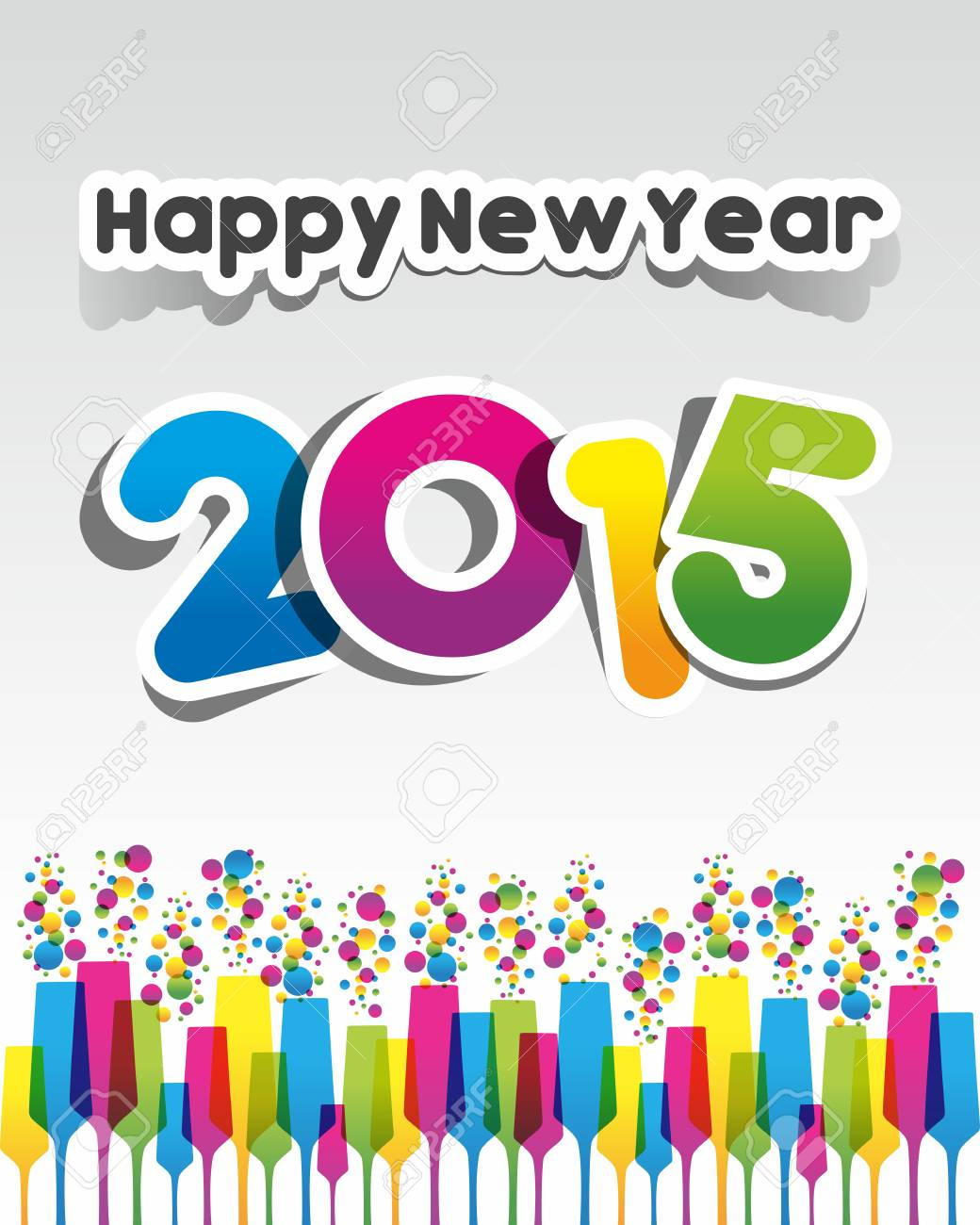 Happy New Year 2015 Greeting Card Vector Illustration Royalty Free