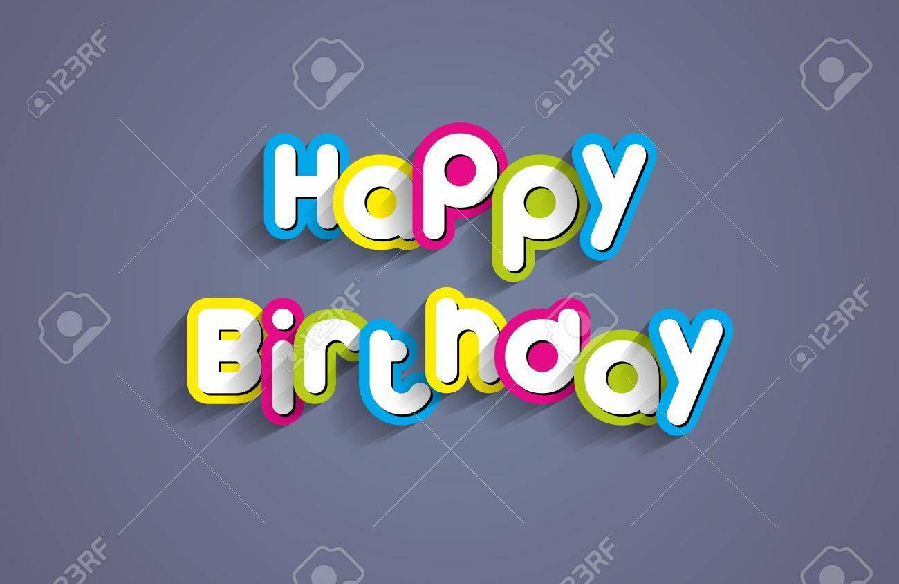 Creative Happy Birthday Greeting Card Vector Illustration Stock
