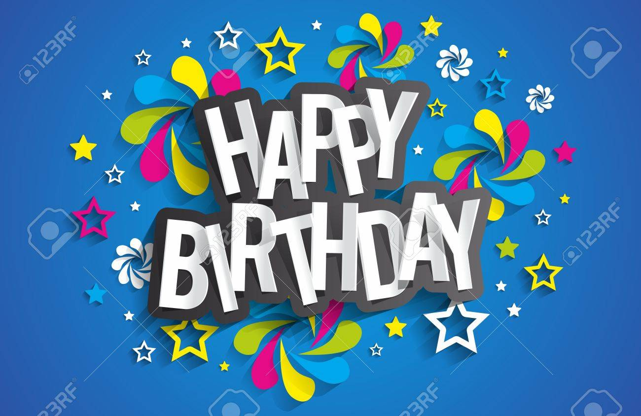 Happy Birthday Greeting Card On Background Vector Illustration – Happy Birthday Greeting Card