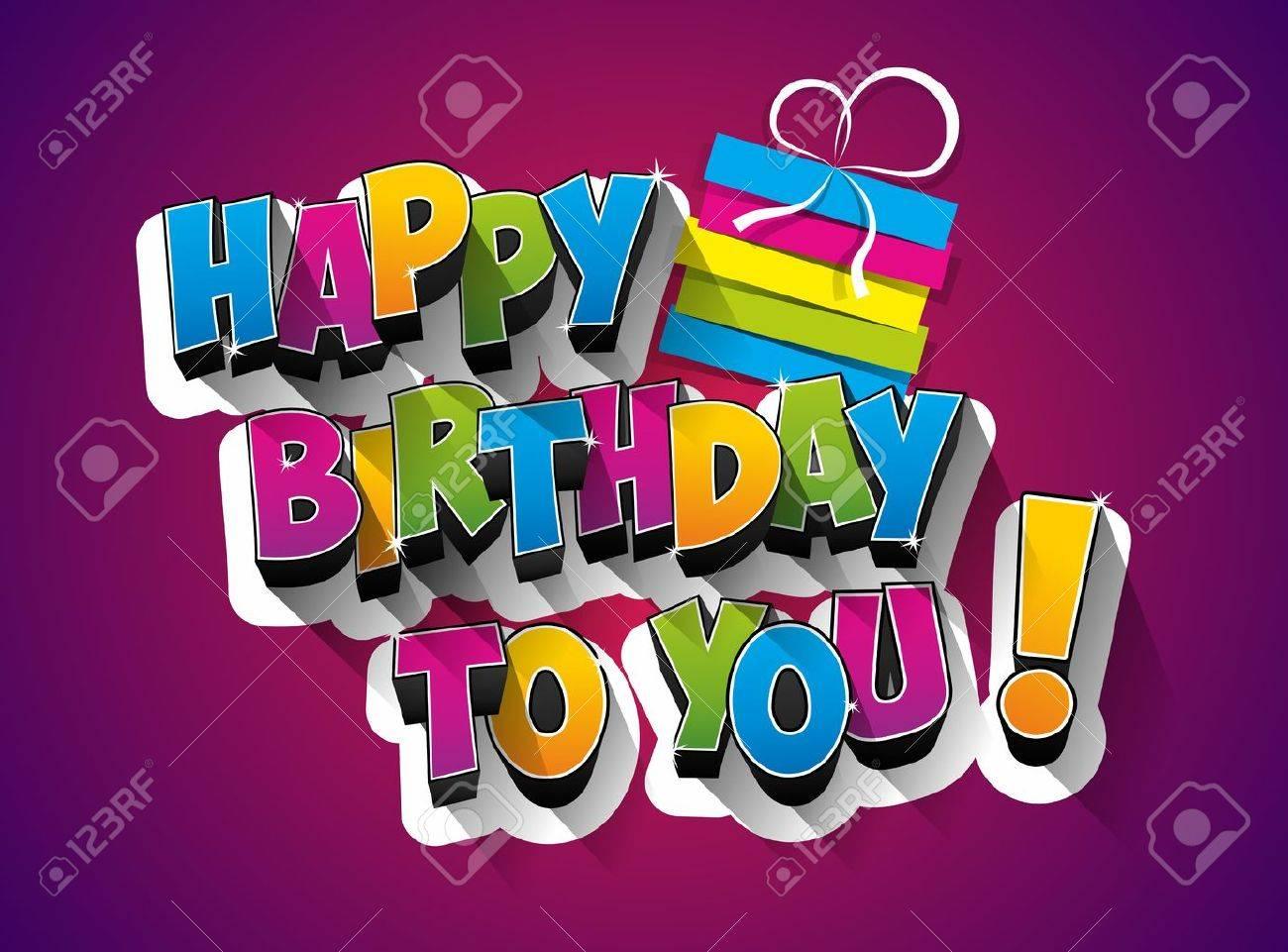Happy Birthday celebration greeting card illustration - 48552472