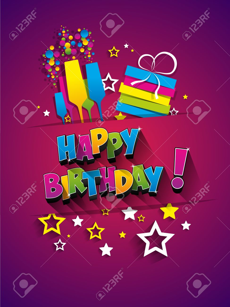 Happy Birthday Greeting Card On Background Vector Illustration Stock