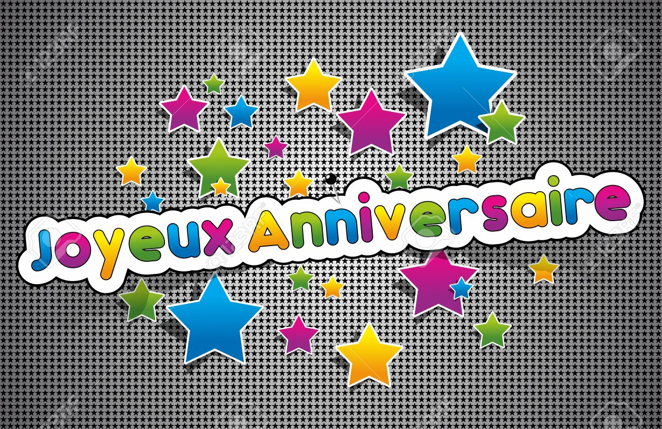 Joyeux anniversaire happy birthday in french greeting card joyeux anniversaire happy birthday in french greeting card on background vector illustration stock vector kristyandbryce Gallery