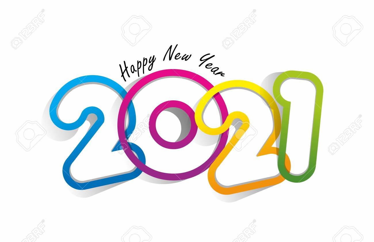Happy new year 2021 celebration greeting card design - 150768489