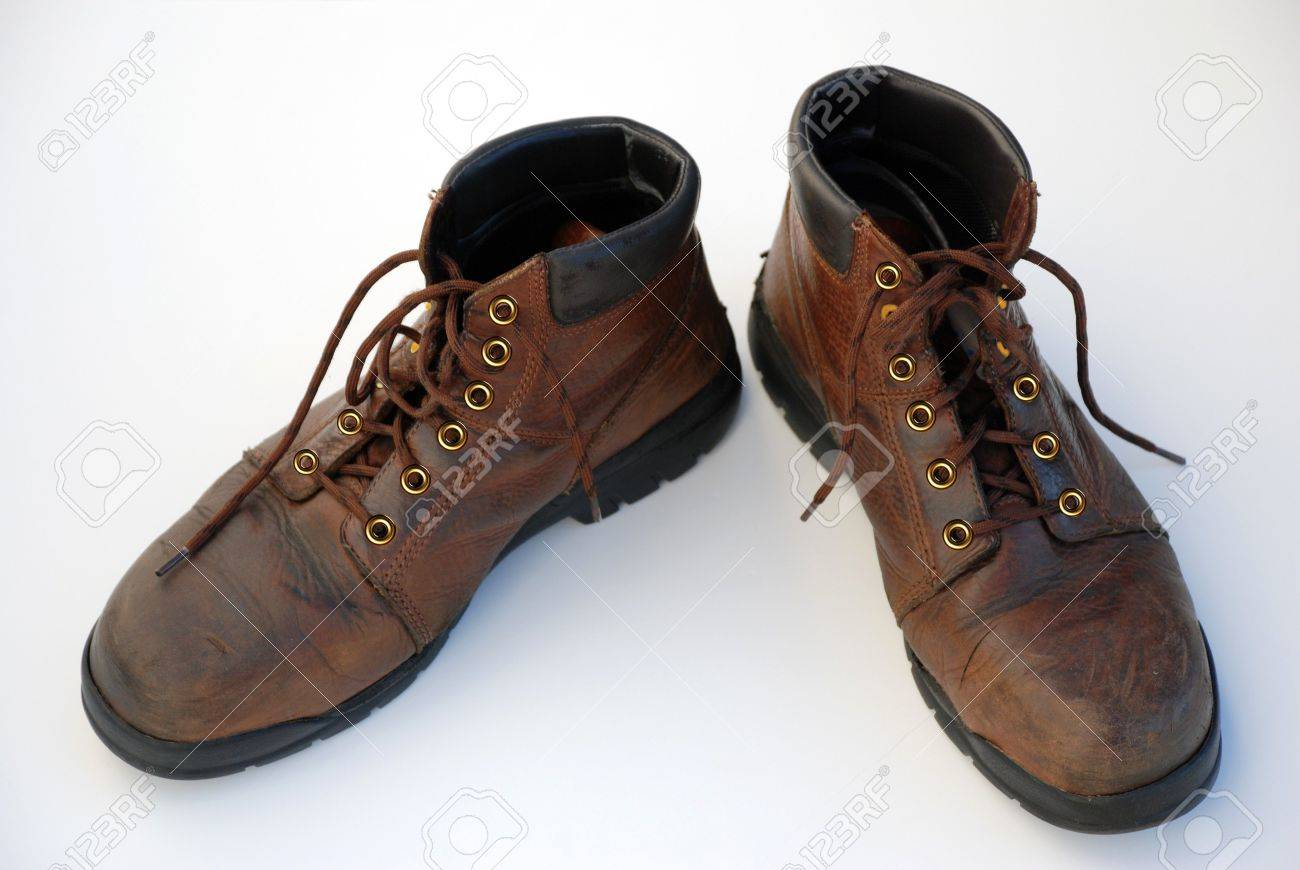 Mens Brown Work Boots Stock Photo, Picture And Royalty Free Image ...