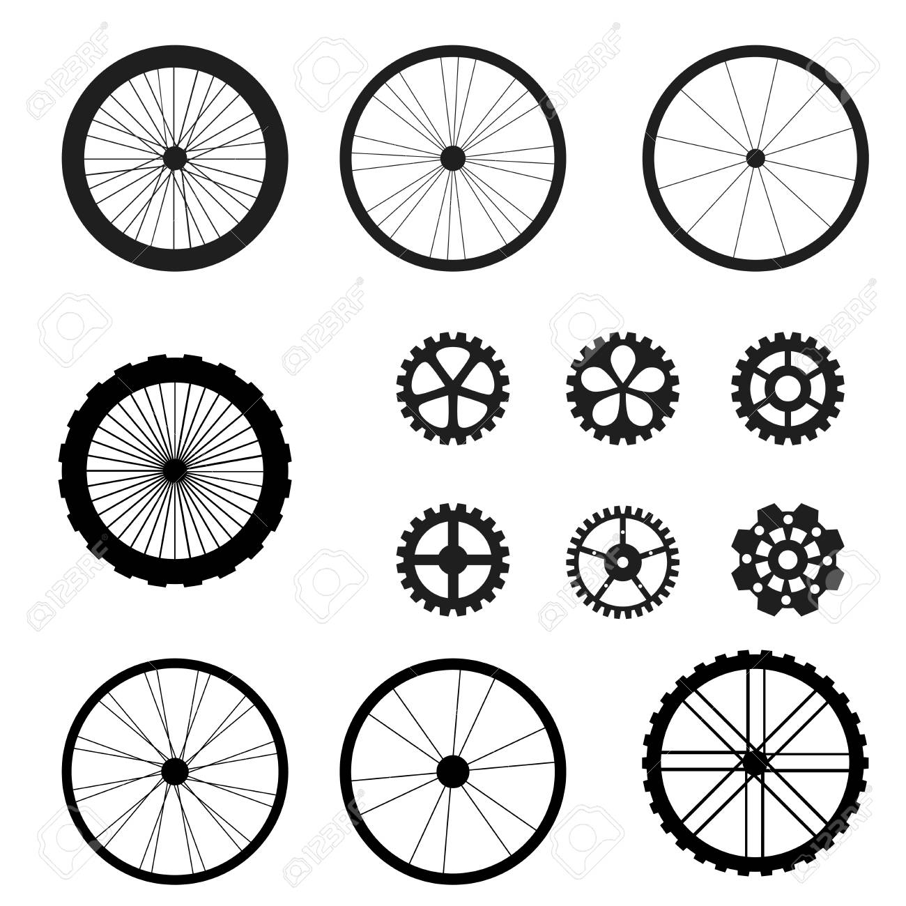 Bicycle Wheel And Chain Wheel Spares Parts Of Bicycle Royalty Free