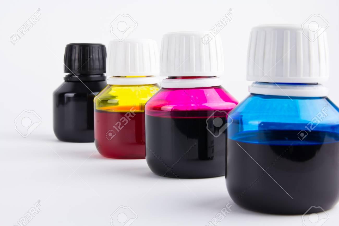 Inkjet refill colors in bottles Stock Photo - 13007483