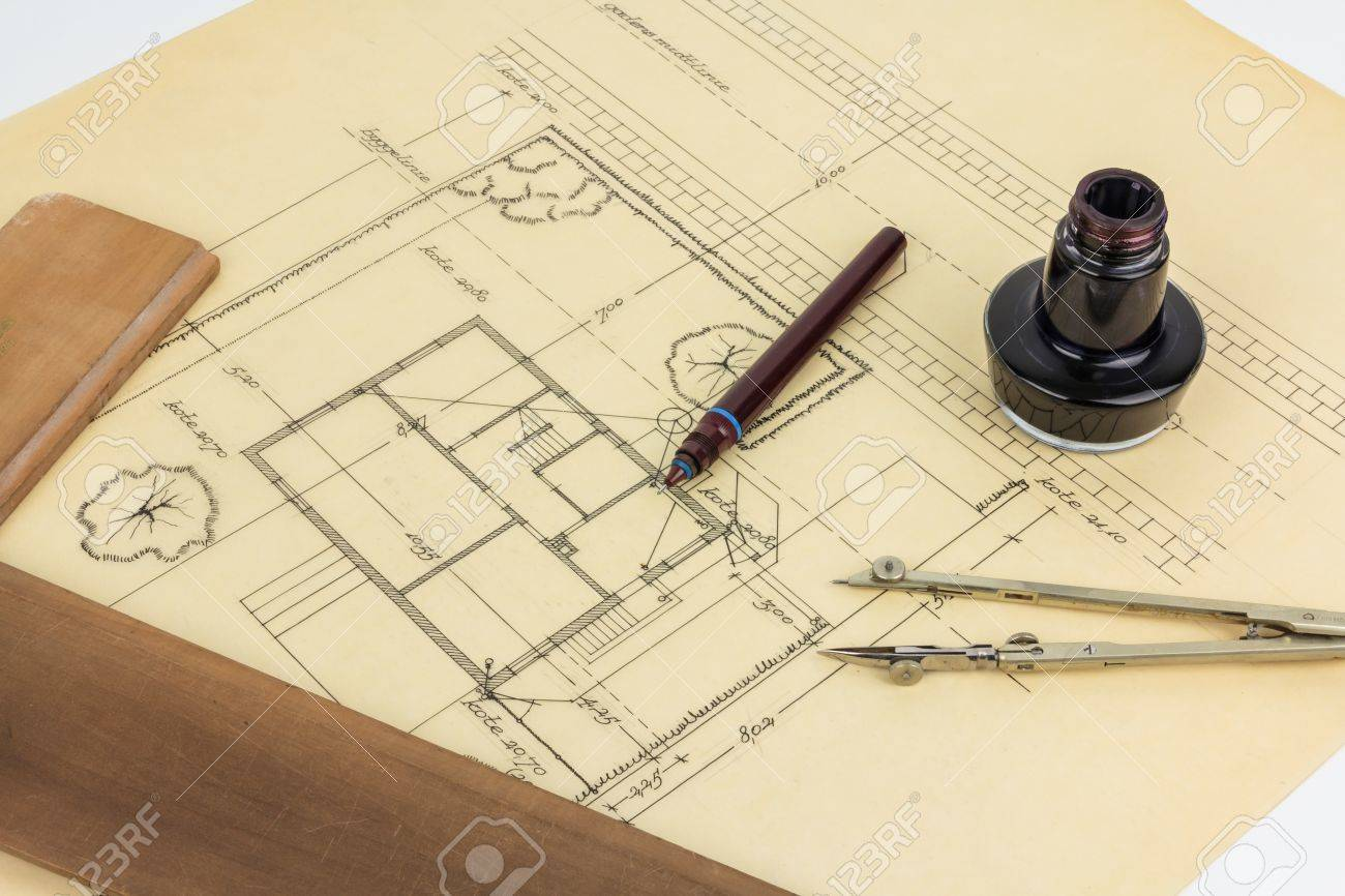 Plan, pen, ink, compass and ruler Stock Photo - 13175342