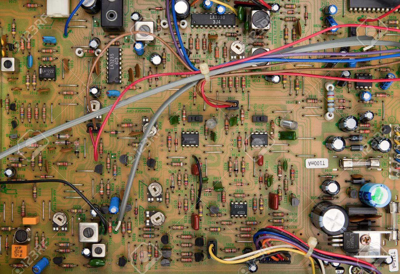 top view of a circuit board with electrical components and colored rh 123rf com