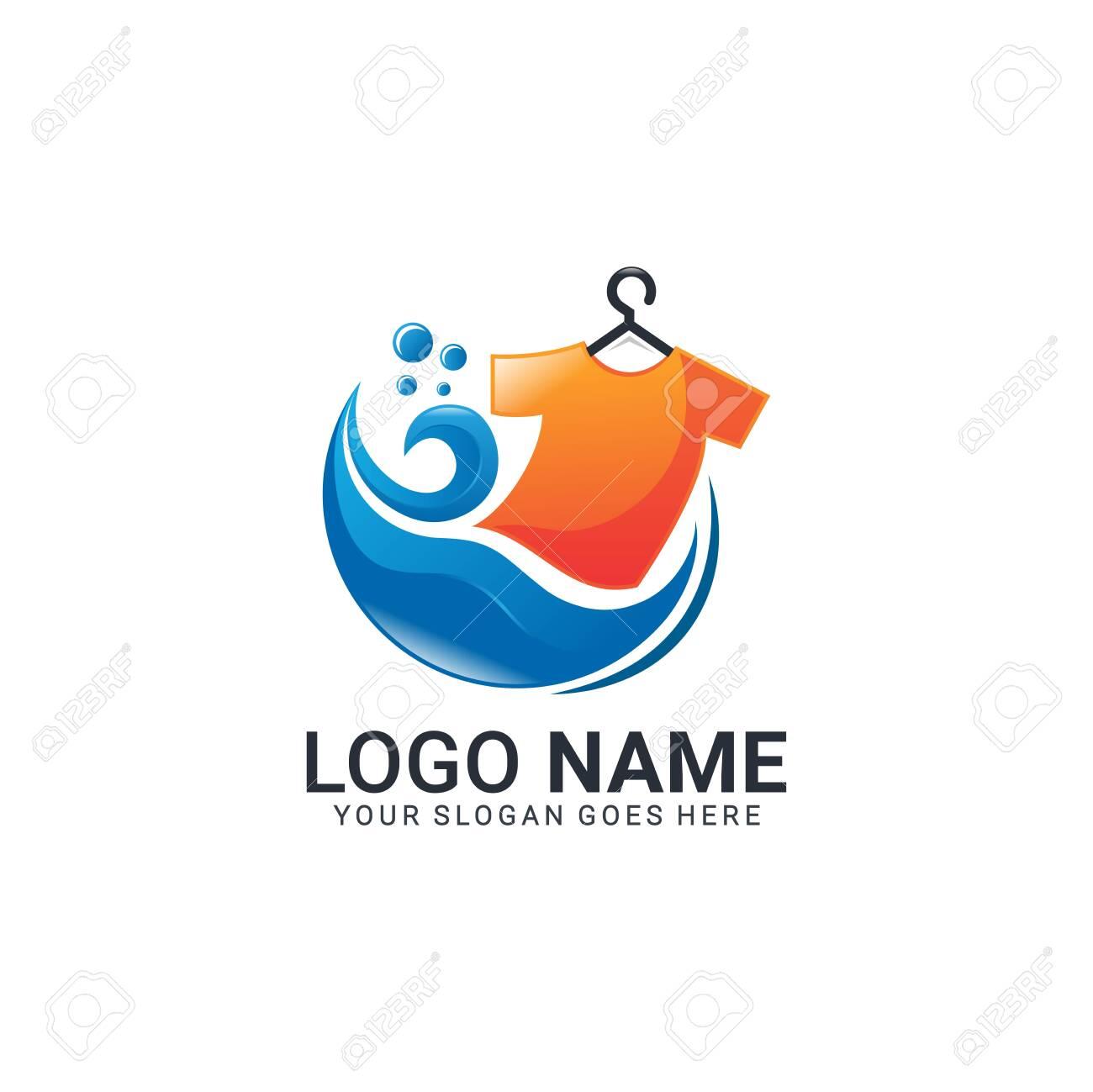 Modern laundry logo design. Editable logo design - 130991704