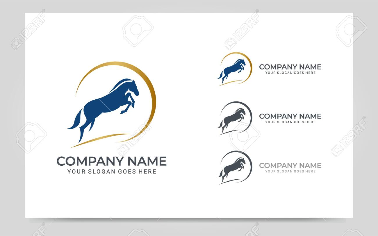 Modern Gold Abstract Horse Logo Design Animal Logo Design Vector Royalty Free Cliparts Vectors And Stock Illustration Image 144038635