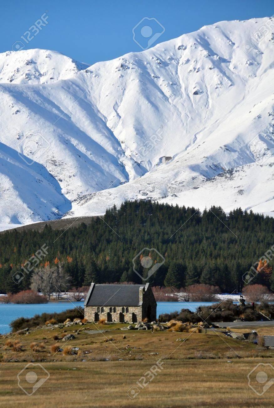 The Church of The Good Shepherd, on the shores of Lake Tekapo in a New Zealand winter wonderland Stock Photo - 12687263