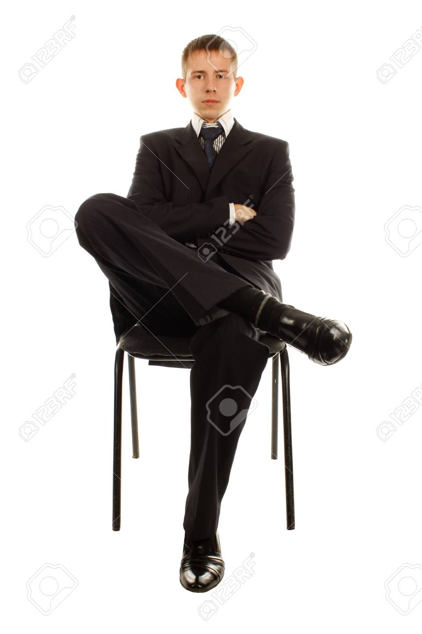 The businessman on the chair isolated on white background Stock Photo - 13653129