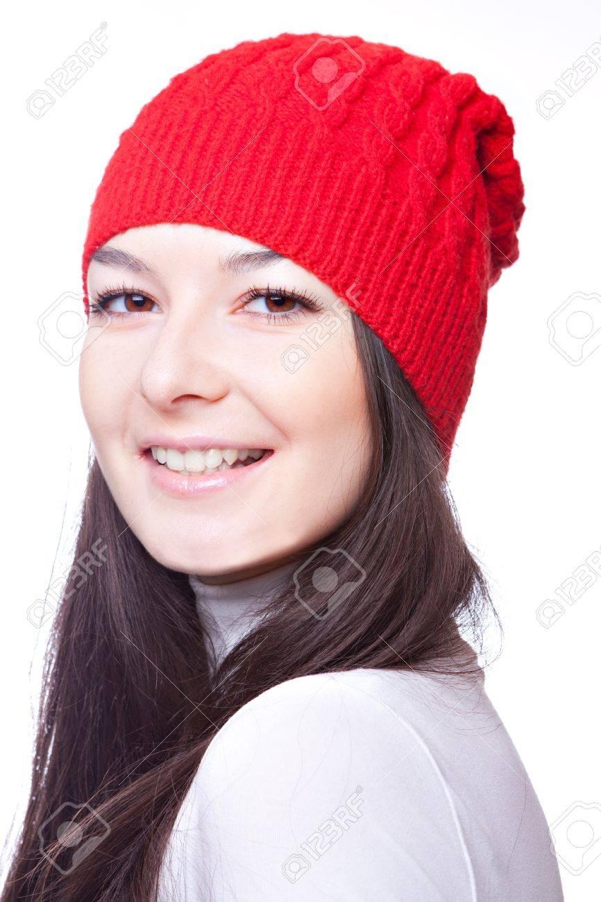 el rostro de una hermosa chica en una gorra roja Foto de archivo - 16382671