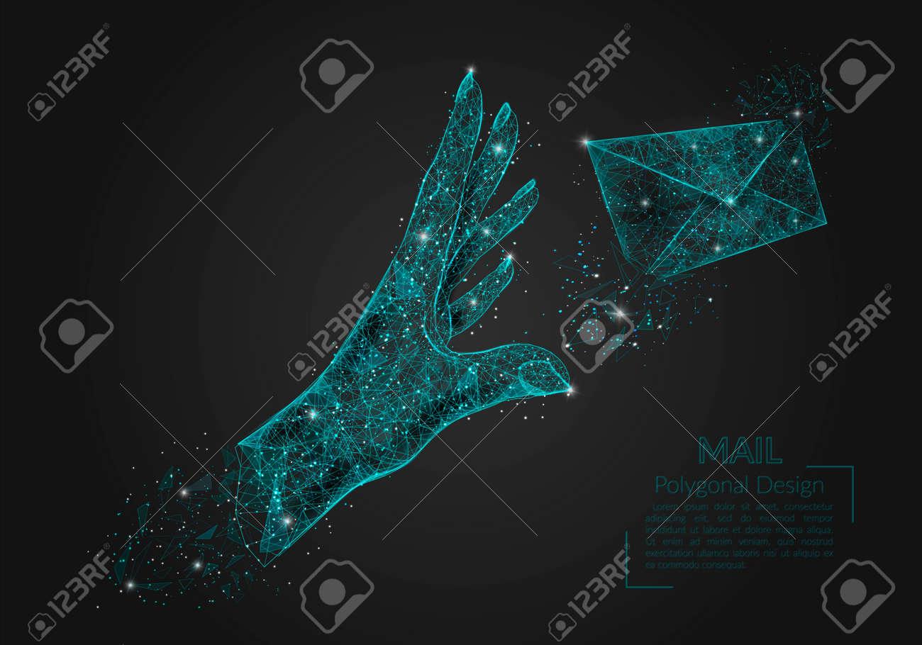 Abstract isolated image of human hand sending letter. Polygonal illustration looks like stars in the blask night sky in spase or flying glass shards. Digital design for website, web, internet. - 167168042