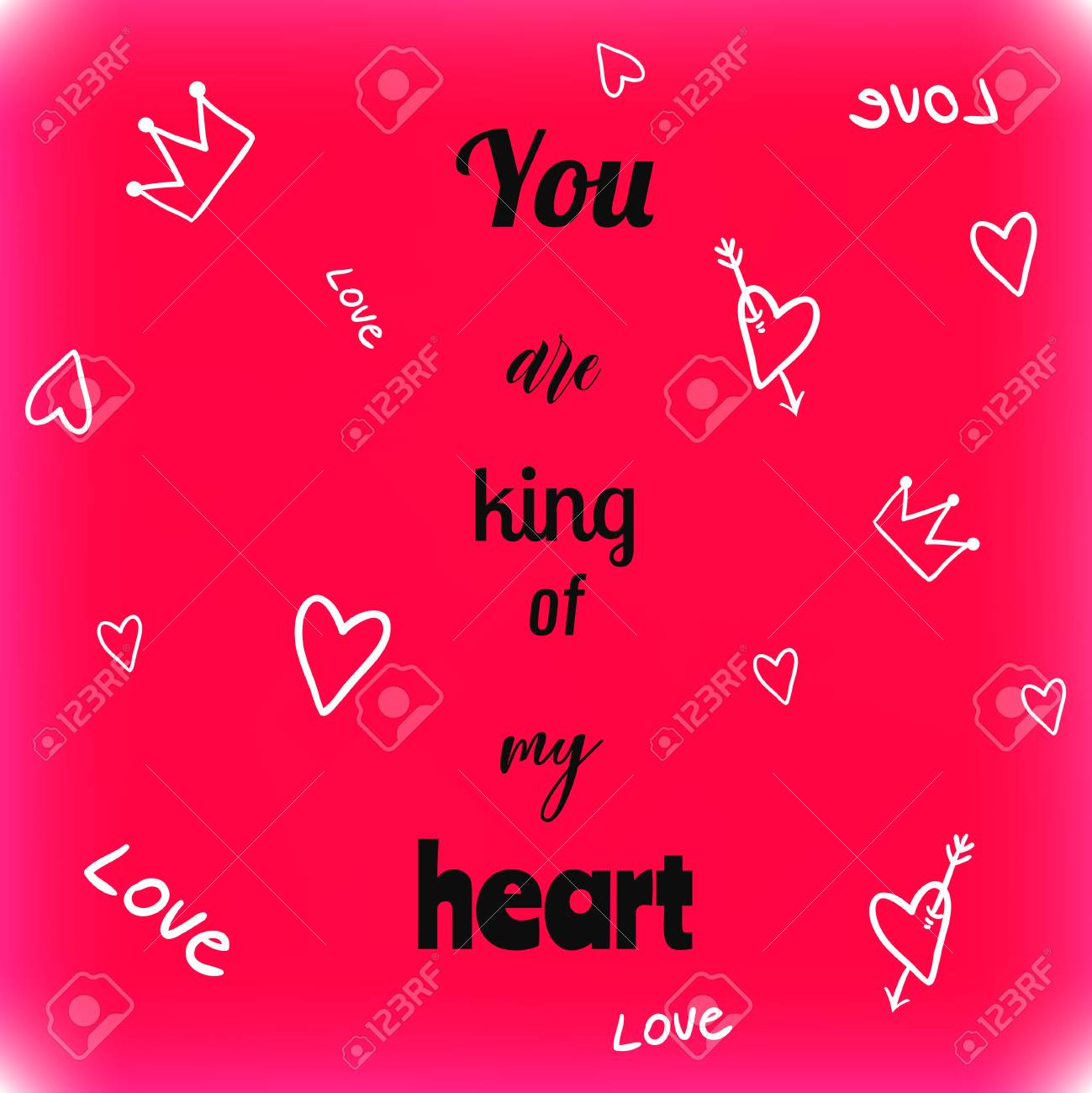 valentines day greeting card with quote you are king of my heart stock vector