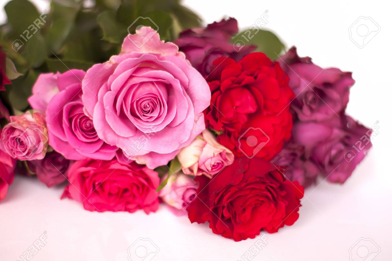 Beautiful Bouquet Of Pink And Red Rose Flowers On White Background