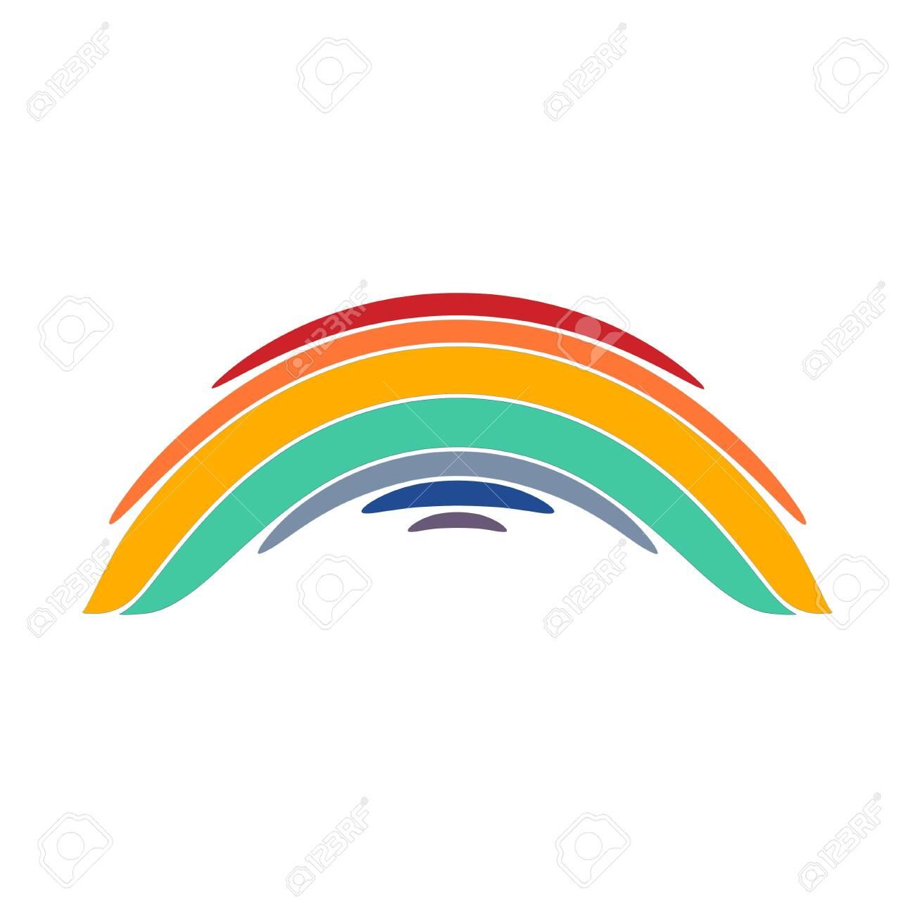 Stylized rainbow illustration on white background - 153736709