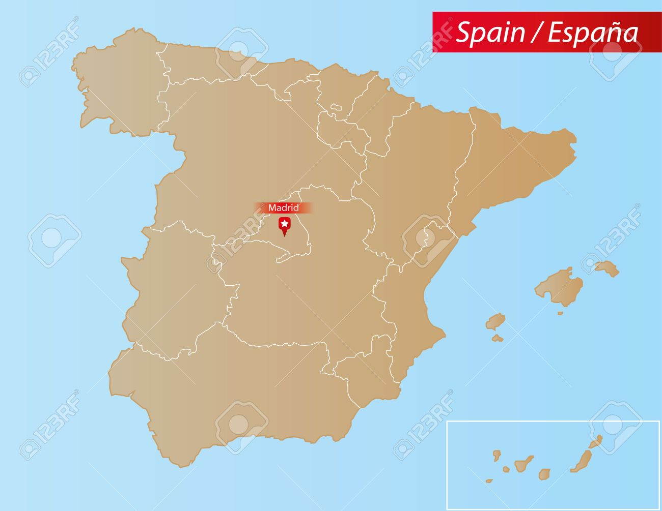 Map Of Spain And Surrounding Islands.Map Of Spain With Islands And Autonomous Communities