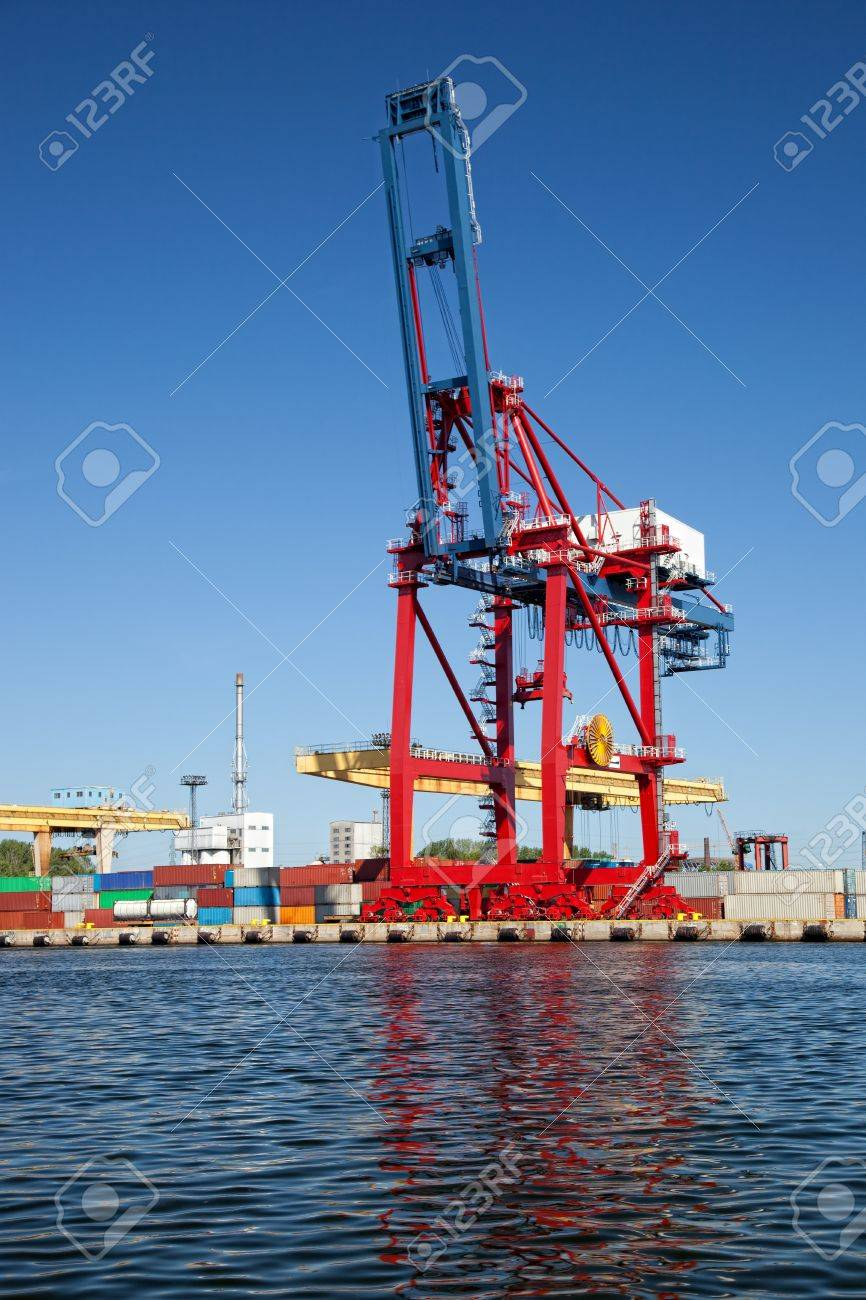 Gantry cranes in a harbor on a background of the blue sky.  Stock Photo - 11229839