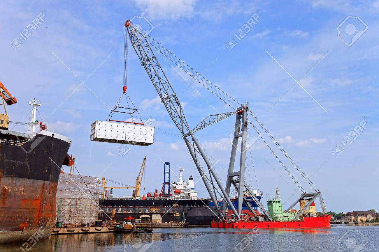 Heavy lifting floating crane vessel during operation  Stock Photo - 15269881