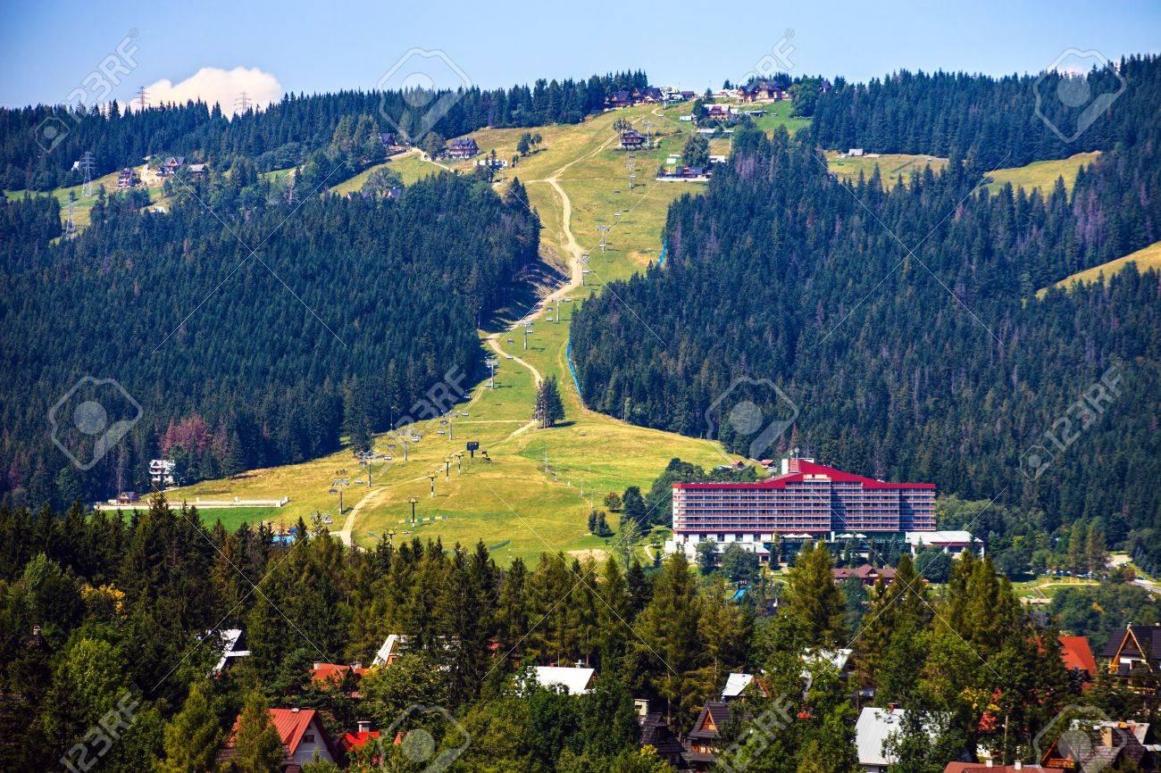 Ski lift in the background near Zakopane, Poland Stock Photo - 18387363