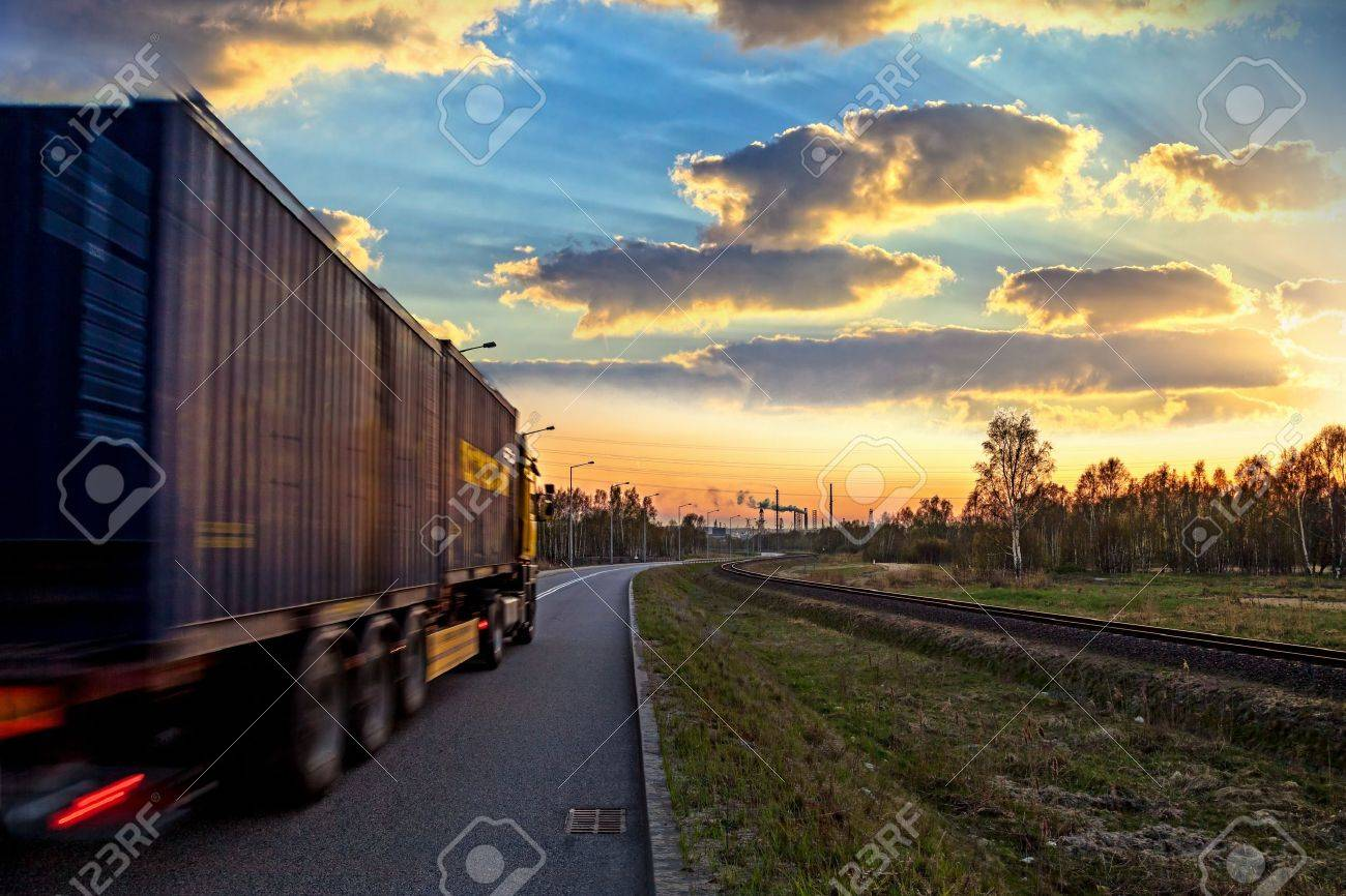 Truck on road speed and delivery concept stock photo 19271299