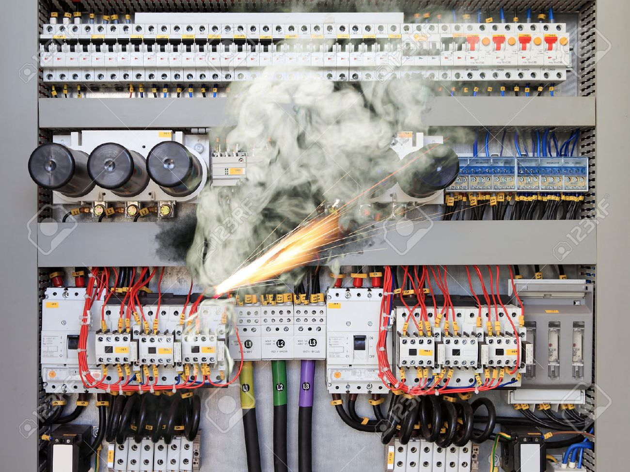 fuse box stock photos & pictures royalty free fuse box images and Fuse Box Short Circuit fuse box overloaded electrical circuit causing electrical short and fire stock photo fuse box short circuit