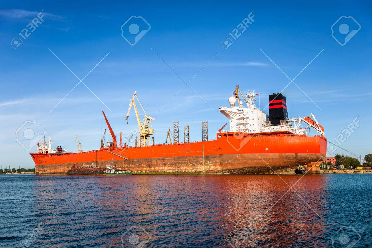 Big ship under repair in Gdansk Shipyard, Poland Stock Photo - 24751355