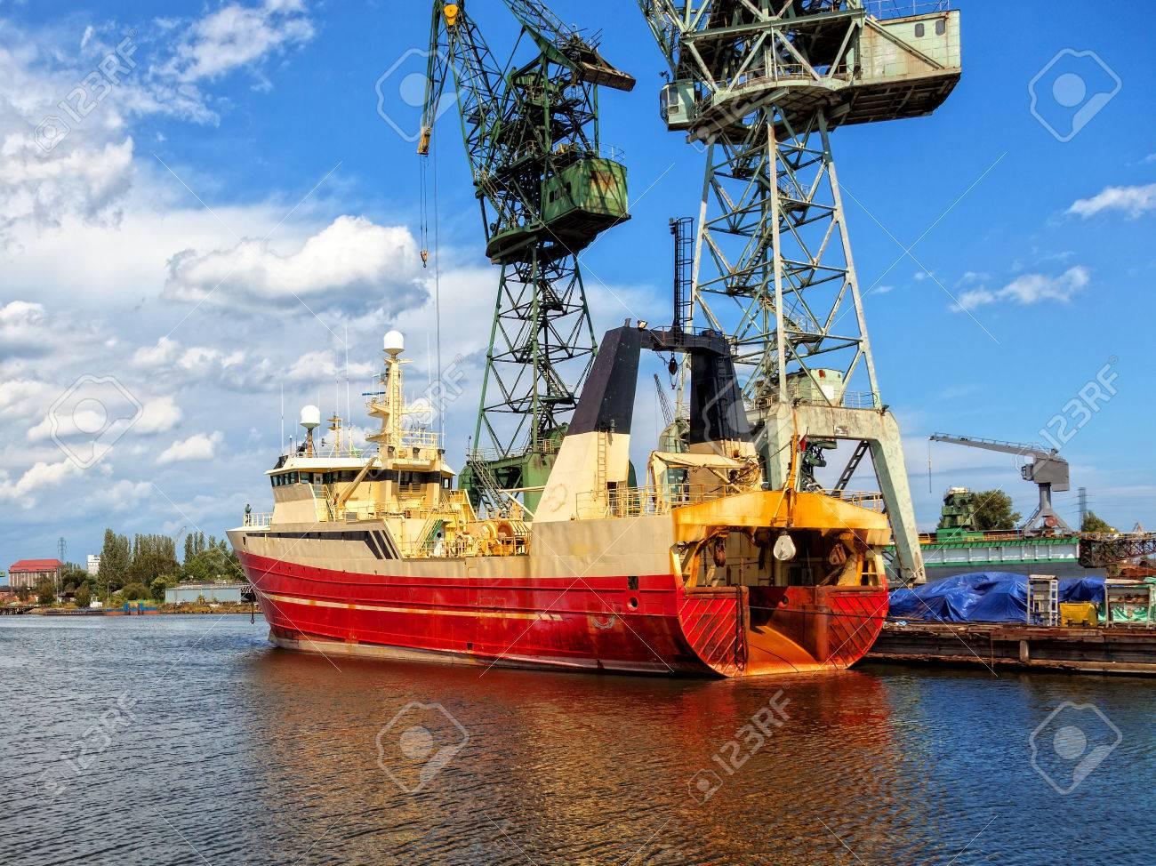 Fishing vessel trawler in a repair yard Stock Photo - 26275544