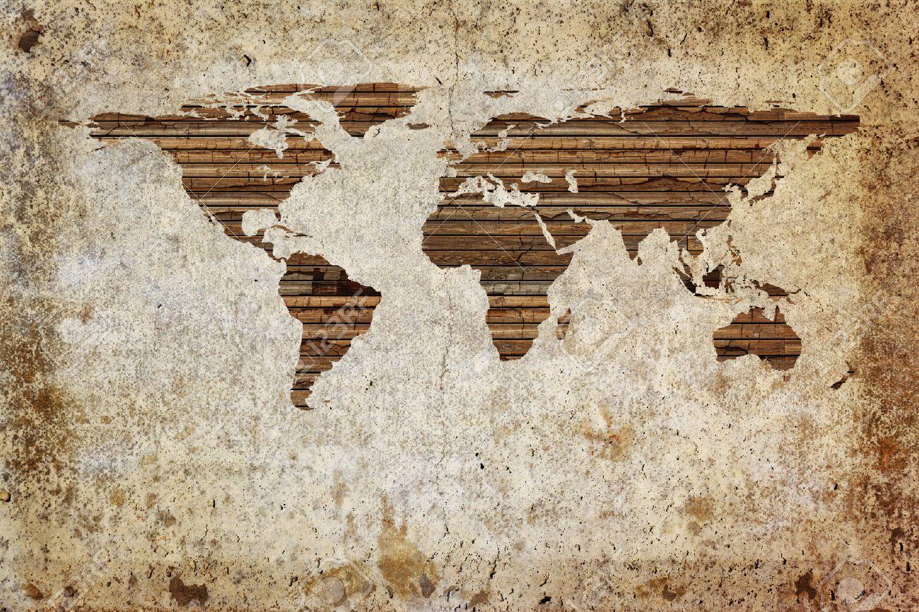 Grunge vintage wooden plank world map background.