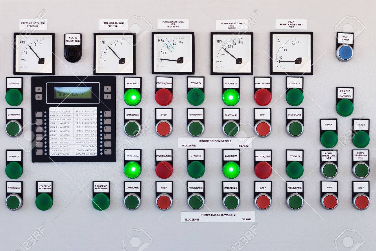Many Buttons And Switches - Control Panel In A Machine. Stock Photo ...