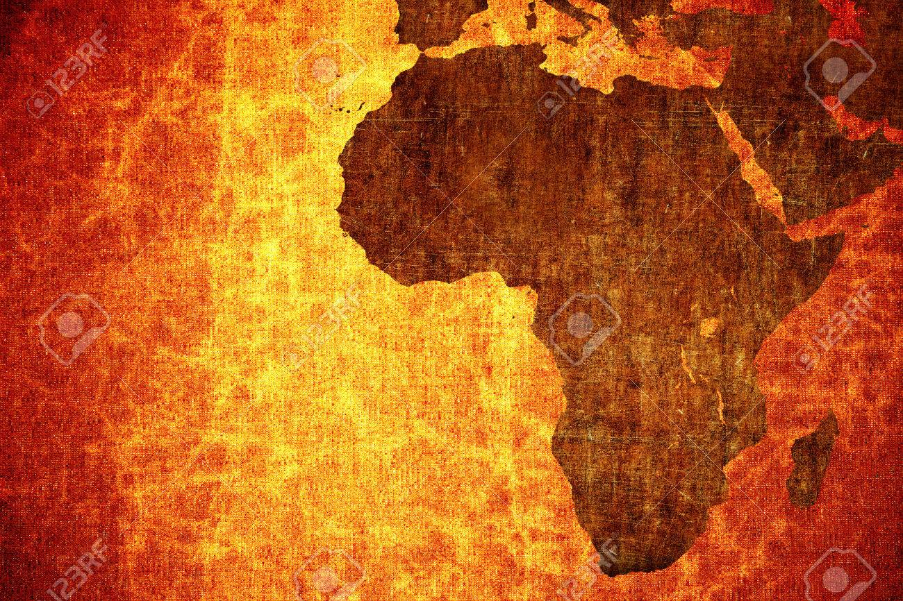 Grunge Vintage Scratched Africa Map Background. Stock Photo