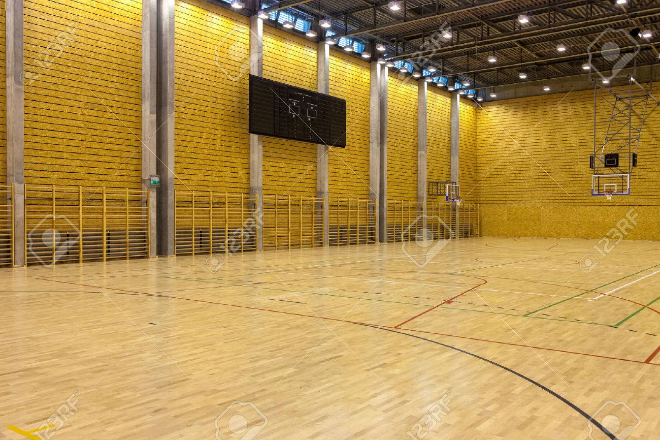 Image Of A Indoor Basketball Court At A School. Stock Photo, Picture ...
