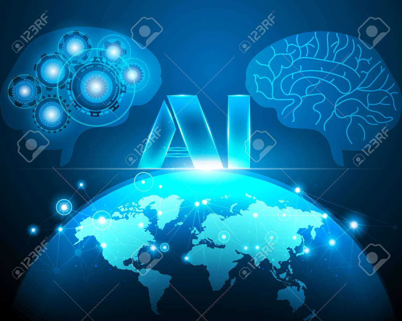 Ai Artificial Intelligence With World Map Cyber Line Digital