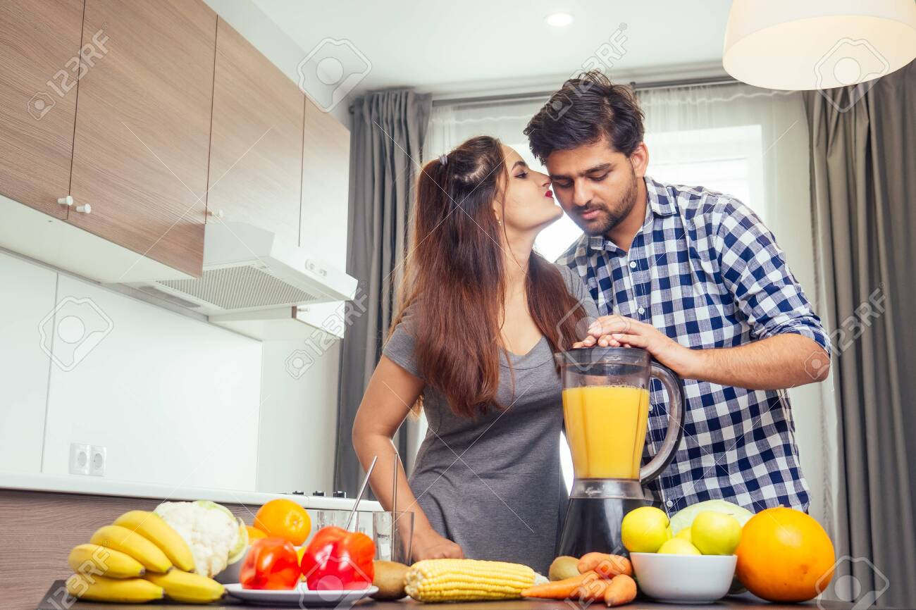 Healthy And Eco Lifestyle Happy Indian Woman With Her Husband