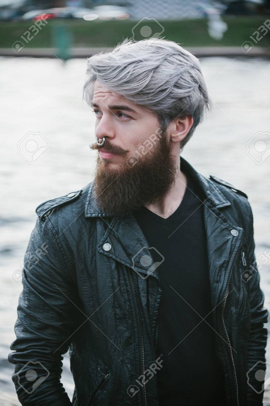 Bearded Hipster With Nose Ring In Leather Jacket Stock Photo ...