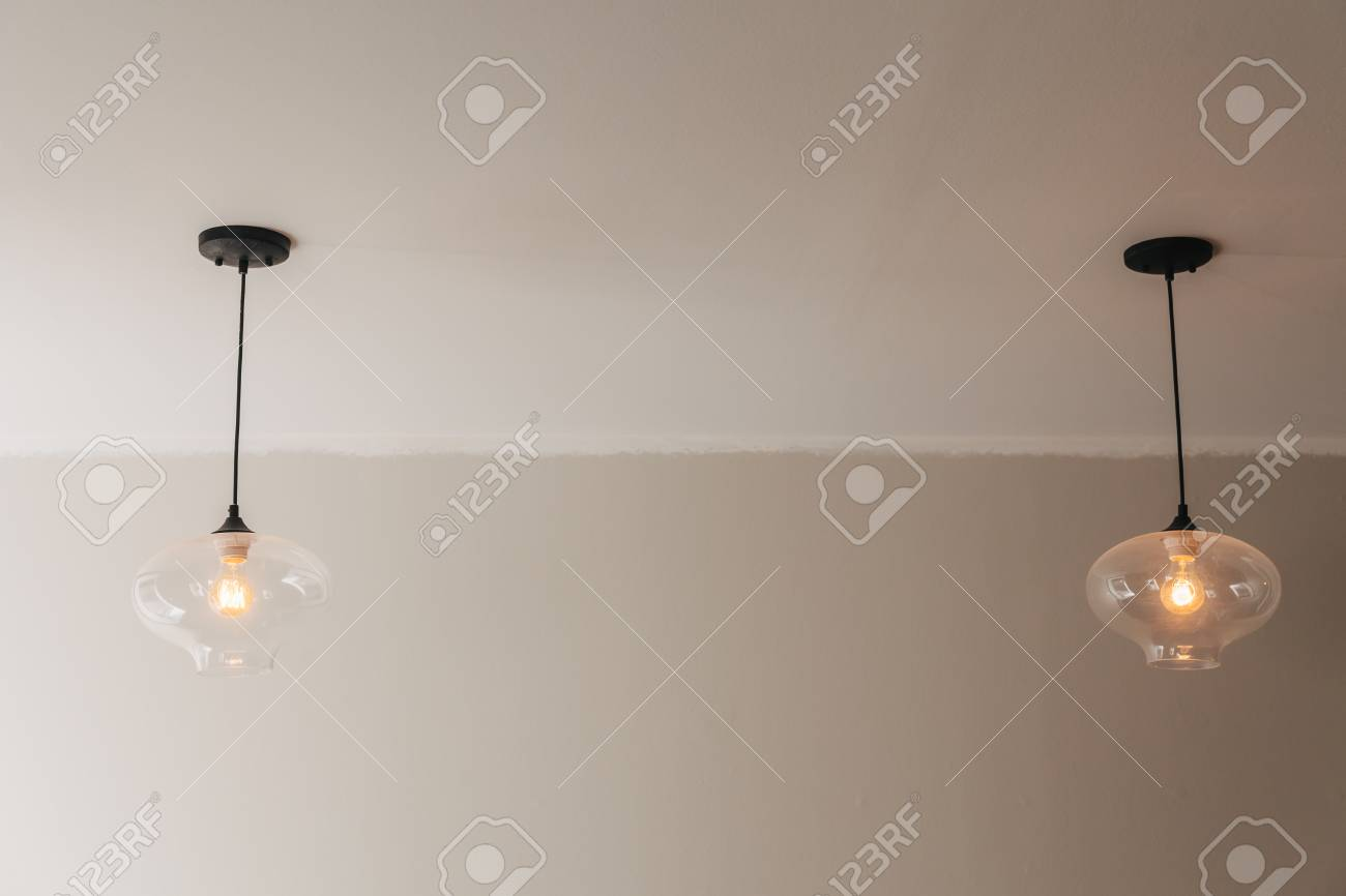 Ceiling light fixture indoor simple background modern stock photo 56253097