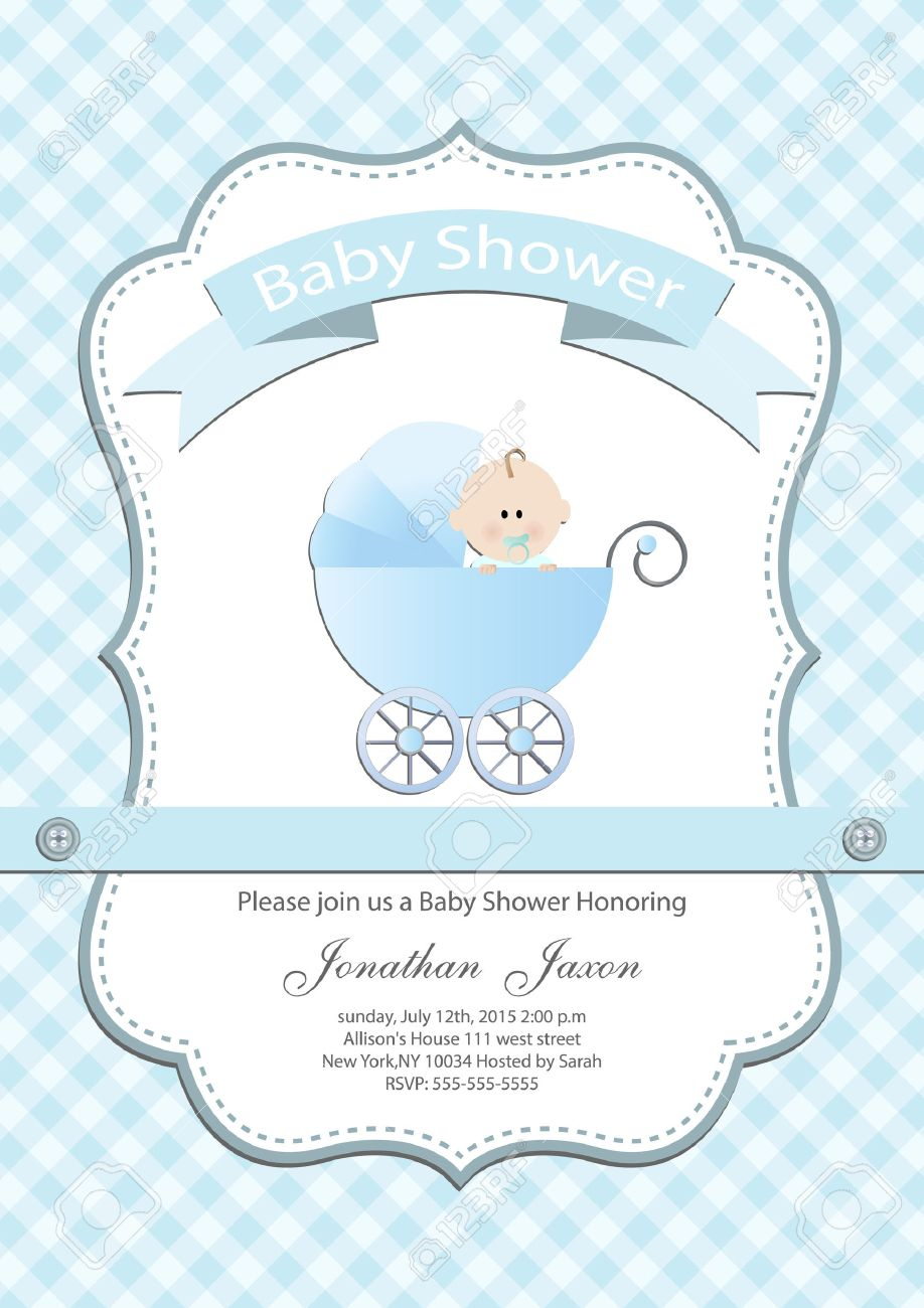 Baby Boy Baby Shower Invitation Card Royalty Free Cliparts, Vectors ...