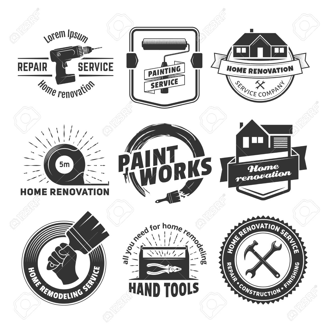 House remodeling   Vector badges for home renovation services