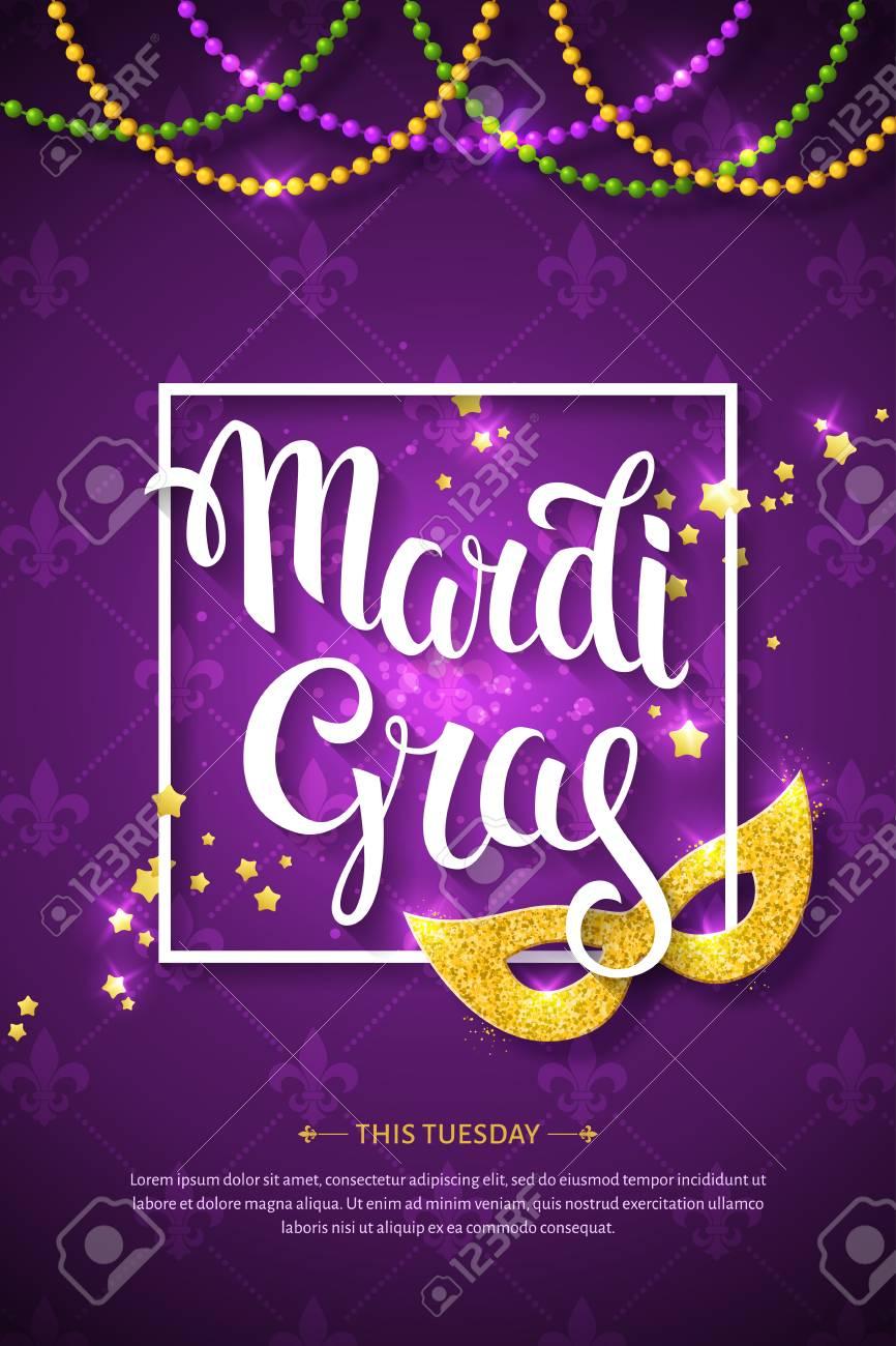 Mardi gras brochure vector logo with hand drawn lettering and mardi gras brochure vector logo with hand drawn lettering and golden fat tuesday symbols m4hsunfo
