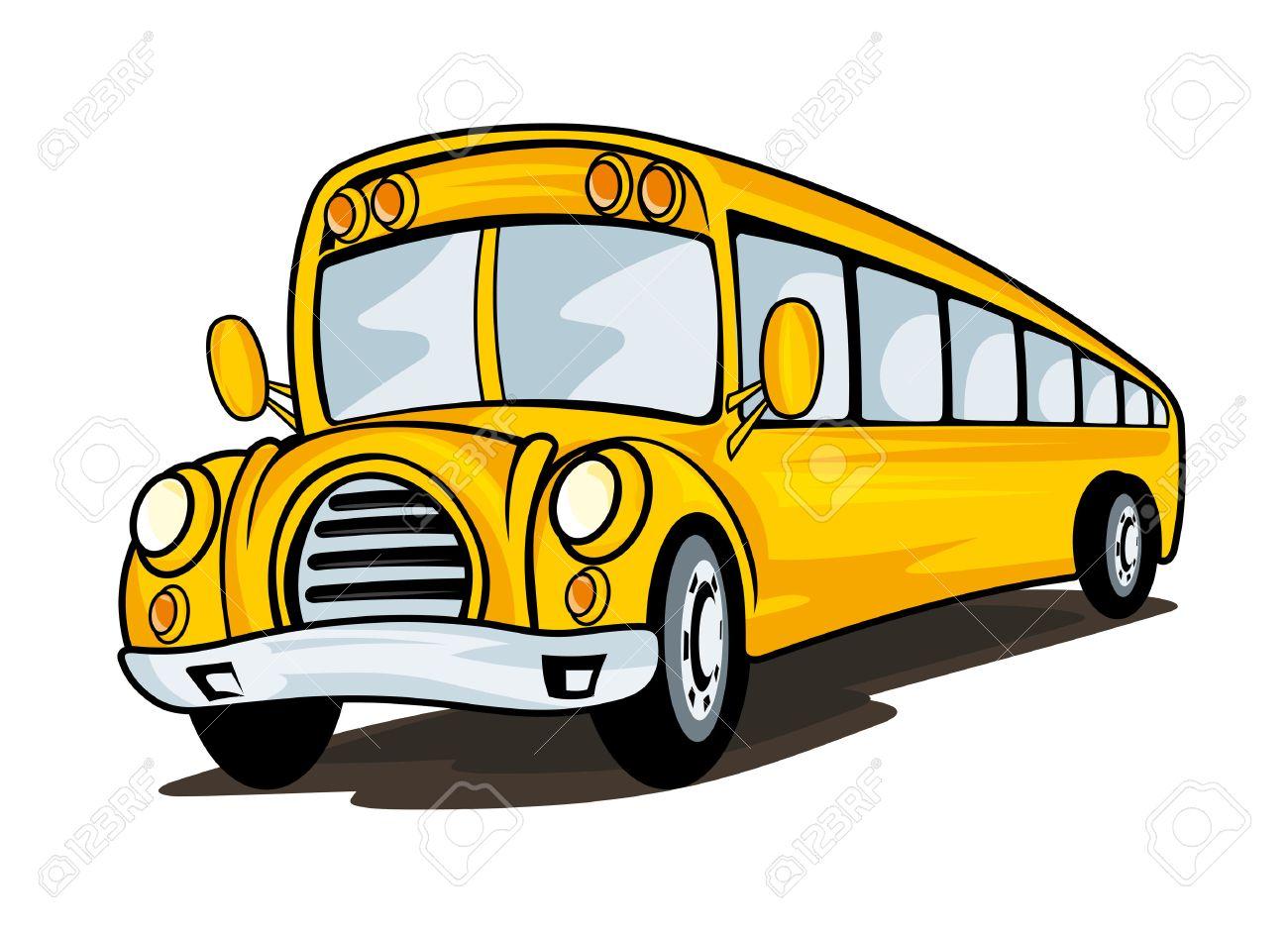 Autobus Scolaire Jaune Dans Le Style De Bande Dessinée Pour L élaboration Du Concept De L éducation