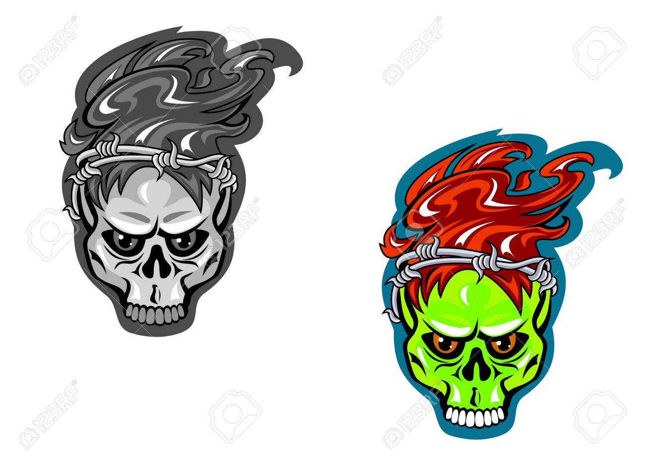 Skull With Barbed Wire For Tattoo Design. Vector Illustration ...