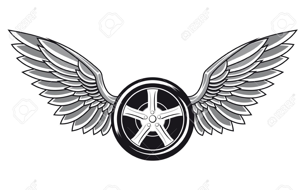 Wheel Tyre With Wings For Tattoo And Racing Design Royalty Free
