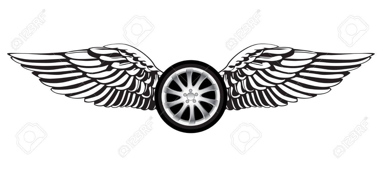 Wheel With Angel Wings As A Racing Symbol Or Emblem Royalty Fri