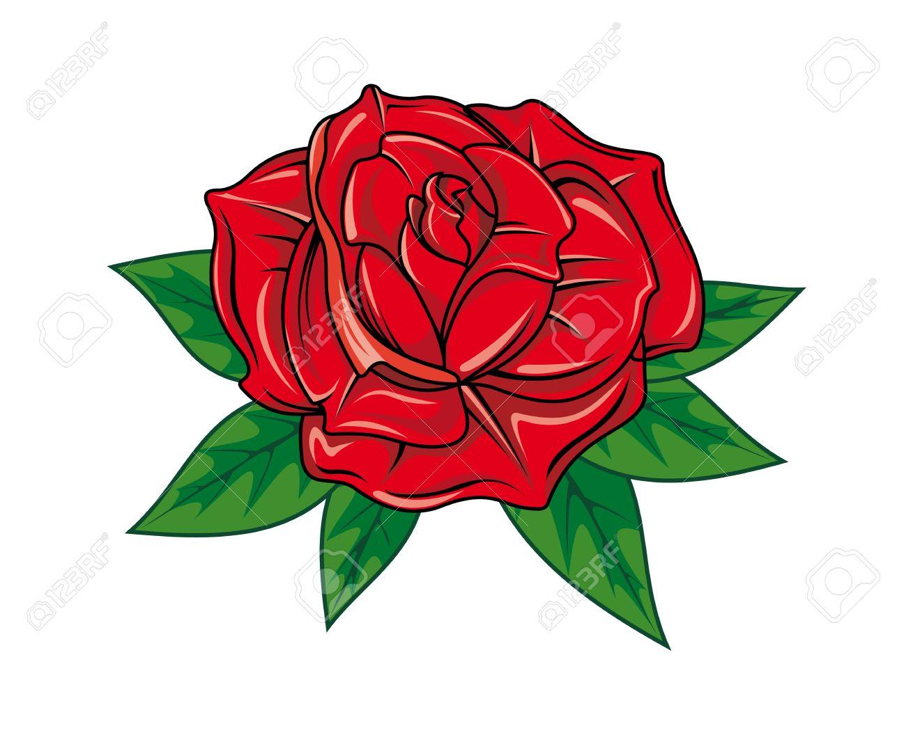 Rose Rouge Dans Le Style Bande Dessinée Pour Le Tatouage Dsign