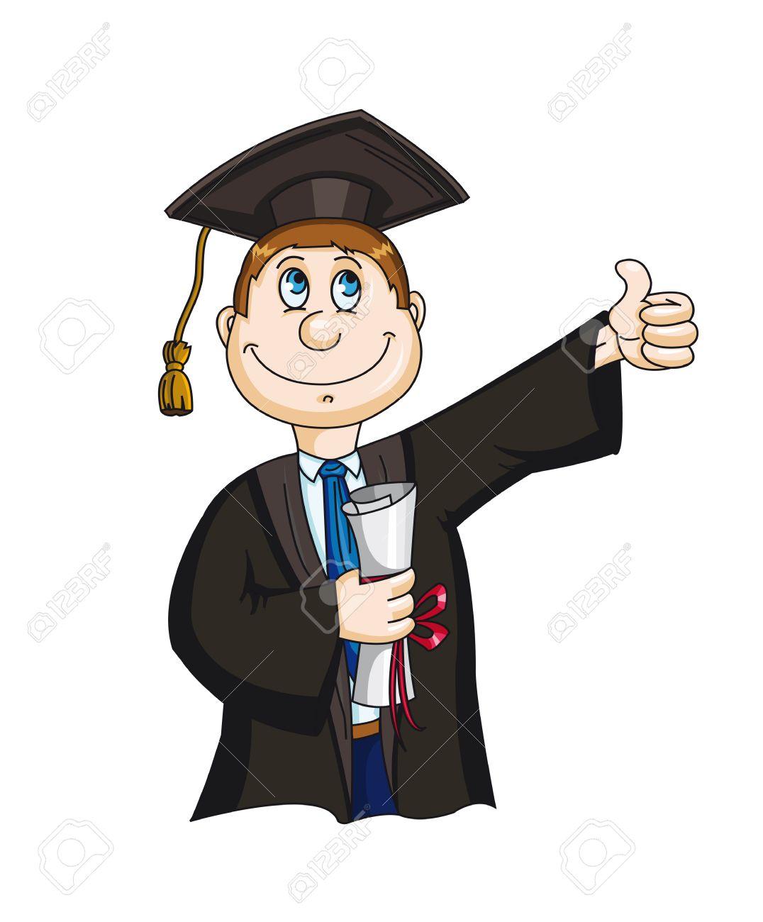 Estudiante Con Sertificate Diploma En Estilo De Dibujos Animados