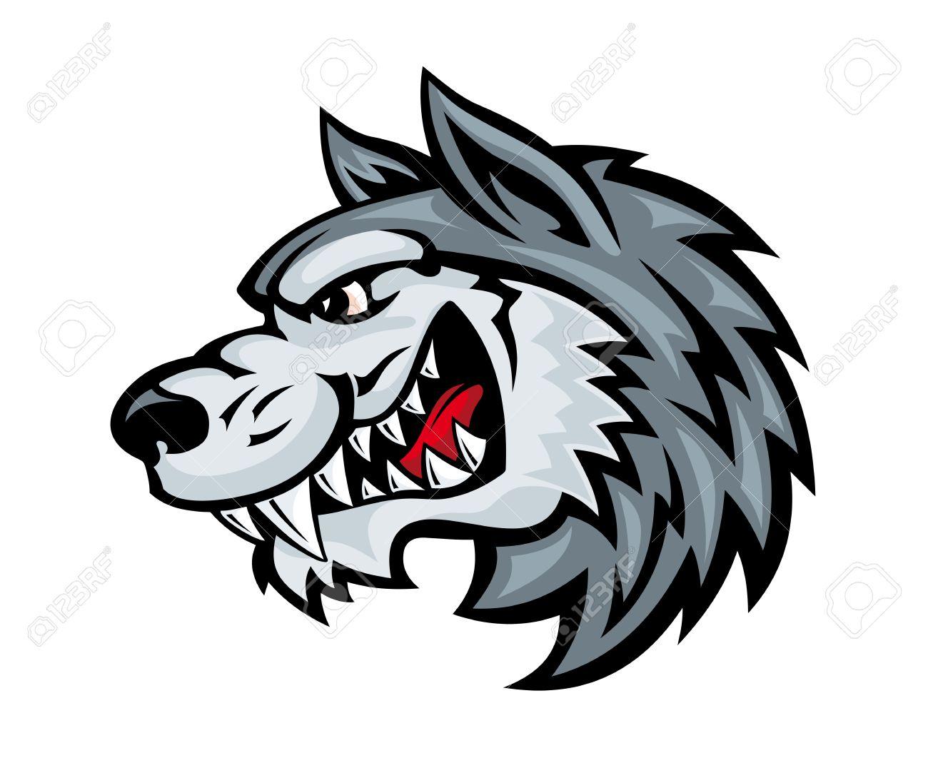 Cabeza De Lobo Enojado De Dibujos Animados Aislado En El Fondo