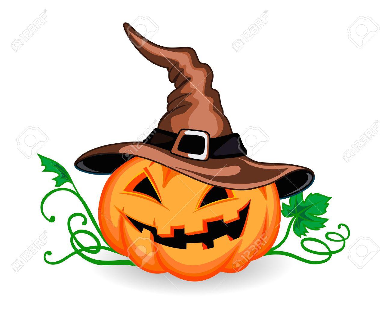 Halloween Pumpkin In Heat With Green Leaves Vector Illustration